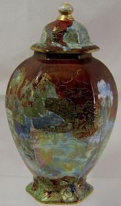 A G Harley Jones Wilton Ware - Hexagonal  Fairyland Ginger Jar/Lid - Early 1900s - SOLD
